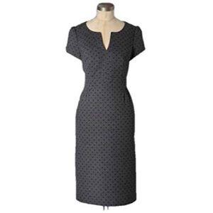 Boden dark grey career dress in polka dots